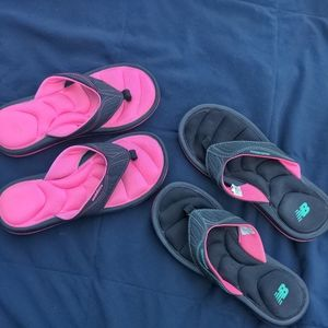 New Balance flip flops 2 pairs black pink